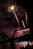 fireworks on the river in Columbus, Ohio