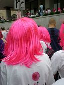 COLUMBUS, OHIO-MAY 16,: Crowd of 46,000 gathers for the Komen Columbus Race for the Cure In Columbus Ohio on May 16, 2009.  Many participants wore pink wigs in rememberance of Heather Pick.