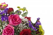 Colorful wedding bouquet of roses, baby's breath, carnations and statice