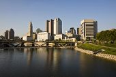 Columbus cityscape with the new Scioto Mile river walk area