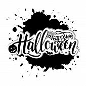 Vector Illustration For Halloween. Happy Halloween Text Banner. Poster For Halloween On Black Backgr poster