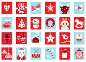 Advent Calendar, Retro Christmas Icons Isolated On White..