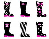 Retro Patterned Wellington Rain Boots Isolated On White ( Black, Pink )..