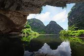 Beautiful view on the mountain from the grotto. Tam coc national park. Vietnam