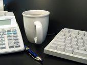 Calculator Keyboard And Coffee Cup 2