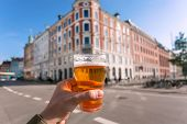 Cityscape And Happy Visitor Of Copenhagen With Beer In Hand, Denmark. Danish Capital With Old Houses poster