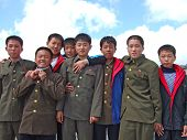PAKTUSAN - SEPTEMBER 7: group of North Korean soldiers on the top of Paktusan mountain, September 7,
