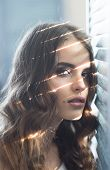 Elegant Girl With Fashionable Hair. Beauty And Fashion Look. Sensual Woman With Makeup At Window. Fa poster