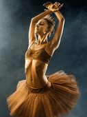 Portrait Of Beautiful Young Ballet Dancer With Shining Golden Skin On Black Background. Body Art Wit poster