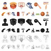 Basketball And Attributes Cartoon Icons In Set Collection For Design.basketball Player And Equipment poster