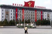 view of the government building on the central square of Kim Il-Sung of Pyongyang - capital of the N