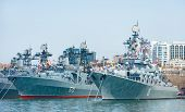 russian pacific navy fleet at military port Vladivostok