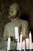 Buddha statue at Sanbanggulsa Grotto Temple at Sanbangsan of Jeju island Korea