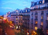 Paris, Night City Landscape. Stylish Beautiful Houses Make An Architectural Complex Of The City Stre poster