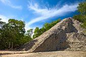 Mayan Nohoch Mul pyramid in Coba, Mexico