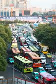 XI'AN, CHINA - JULY 7: View from the city center wall on the traffic jam on July 7, 2008 in Xi'an, S