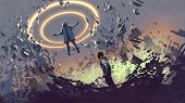 Sci-fi Scene Showing Fight Of Two Futuristic Men With Magics, Digital Art Style, Illustration Painti poster