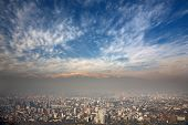 birdeye view of Andes and Santiago, Chile, view from Cerro San Cristobal poster