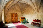 Hall for wedding ceremony in castle Karlstejn, Czech Republic