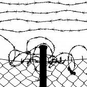foto of stockade  - wired fence with barbed wires - JPG