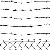 picture of stockade  - vector of wired fence with five barbed wires on white background - JPG