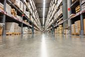 Storage Warehouse And Distribution Store, Product On Shelf. poster