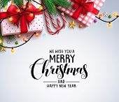 Christmas Greeting Vector Background With Text And Colorful Christmas Elements Like Gifts, Candy Can poster