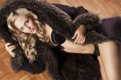 Sexy Girl In Lingerie With Fur, She Takes Hoode With Right Hand