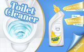 Poster Of Toilet Cleaner Ads, Flushing Water With Detergent, Top View Of Bowl In 3d Illustration. Cl poster