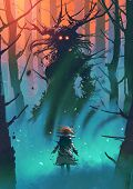 Little Girl And The Witch Looking Each Other In A Forest, Digital Art Style, Illustration Painting poster