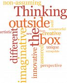 foto of thinking outside box  - Thinking outside the box word cloud - JPG