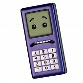 Cartoon mobiele telefoon met leuke en grappige emotionele gezicht