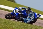 TOPEKA, KS - AUG 2:  AMA Superbike racer, Josh Hayes, travels through the turns at the Tornado Natio