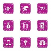 Fresh Atmosphere Icons Set. Grunge Set Of 9 Fresh Atmosphere Icons For Web Isolated On White Backgro poster