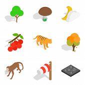 Zoological Park Icons Set. Isometric Set Of 9 Zoological Park Icons For Web Isolated On White Backgr poster