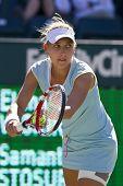 CHARESTON, SC - APR 08:  Elena Vesnina (RUS) plays against Samantha, Stosur (AUS) on April 8, 2011 d