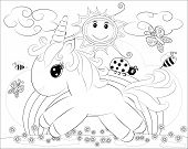 Coloring Pages. Little Cute Pony And Rainbow poster