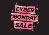 Vector Illustration With A Modern Font With A Phase Cyber Monday Against A Black Background. Concept poster
