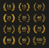 Set Of Anniversary Laurel Wreaths. Golden Anniversary Symbols Isolated On Black Background. 10, 15,  poster