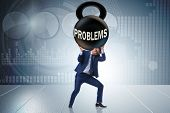 Business problem and challenge concept with businessman poster