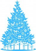 decorated vector xmas tree with gifts