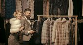 Fashion And Beauty, Winter, Fur. Couple In Love Among Fur Coat, Luxury. Date, Couple, Love, Man And  poster