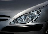 Closeup of the headlights of a car