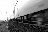 Fast passenger train motion blur. Highkey image