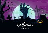 Halloween This Weekend Banner Design With Zombie Hand 2. Creative Lettering With Zombie Hand From Gr poster