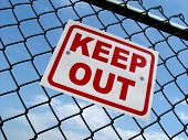 Keep Out Sign on Wire Fence