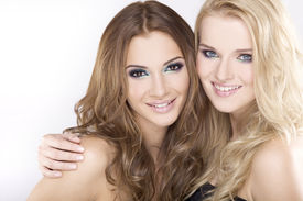 foto of blonde woman  - Two smiling attractive girl friends  - JPG