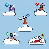 Cloud Computing Woman Silhouettes Color