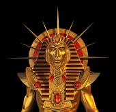 stock photo of pharaohs  - 3D render depicting an ancient Egyptian Pharaoh statue isolated on black - JPG