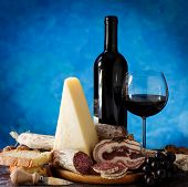 Salumi Cheese, And Glass Of Red Wine